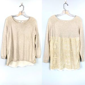 Fever Cream Lace Long Sleeve Shirt Size S